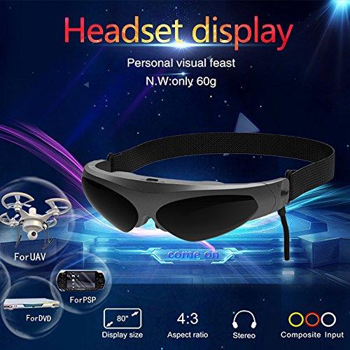 Docooler 922A Head-Mounted Display FPV Gläser 80 Zoll virtueller Wide Screen Smart Video Brille AV-Eingang für Blu-ray DVD-Player Drones MP5 PS3 XBOX TV andere digitale Geräte mit AV-Ausgang - 7