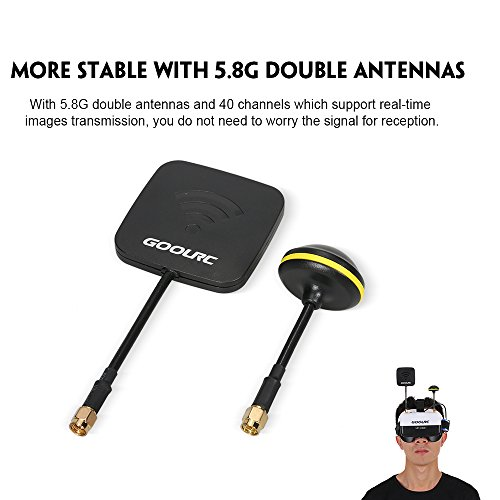 GoolRC VR HD01 40CH Duo Antennen FPV Goggles Video Brillen für FPV Live Übertragung Racing Drohne H501S Inductrix QX95 NH-010 Quadrocopter - 6