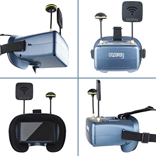 Crazepony-UK FPV Goggles Crazepony VR008 Pro FPV Headset Glasses with DVR 4.3 Inch 5.8G 40CH Diversity Battery and Carrying Case for RC Quadcopter - 3