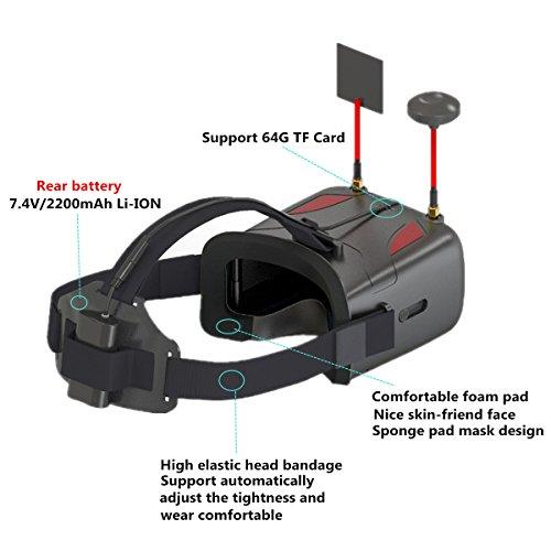 crazepony-uk EACHINE FPV Brillen VR D2 Pro Upgraded 5,8 g 40 CH 12,7 cm 2S 7,4–8,4 V mit DVR Objektiv verstellbar (EACHINE Brillen) - 6