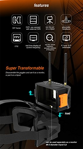 Eachine FPV Brille VR011 5 Zoll FPV Goggles 800x480 Vielfalt FPV Video Headset Brille 5,8G 40CH Raceband Bauen In Batterie ohne DVR für FPV Racing Drone - 8