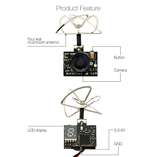 EACHINE TX01 FPV Kamera Super Mini VTX AIO 5.8G 40CH 25MW 600TVL 1/4 Cmos FPV Sender Camera NTSC - 3