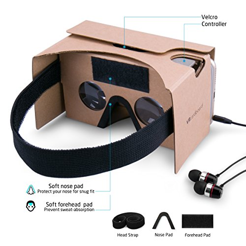 Google Cardboard Virtual Reality Brille, Splaks Mit Magnete Stirn- und Nasenpolster 3D VR Brille Virtuelle Realität Brille DIY VR-HMD / VR-Case geeignet für 4 bis 5,5 Zoll Android und iPhone 7 Smartphone - 3