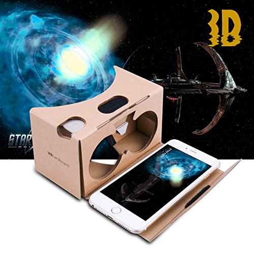 Google Cardboard Virtual Reality Brille, Splaks Mit Magnete Stirn- und Nasenpolster 3D VR Brille Virtuelle Realität Brille DIY VR-HMD / VR-Case geeignet für 4 bis 5,5 Zoll Android und iPhone 7 Smartphone - 5