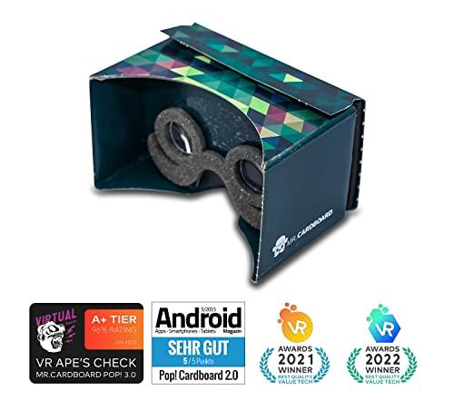 Google Cardboard POP! CARDBOARD + Gratis Kopfband und Polster. Für Android und iPhone bis 6 Zoll. Komplett mit Linsen und Kopfhalterung. 3D Brille VR Brille Virtual Reality Viewer. - 2