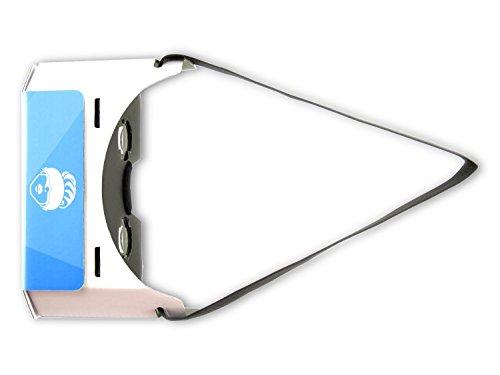 VR-PRIMUS® Google Cardboard VR Brille | Virtual Reality | Leicht, Nasenpolster, Kopfband | Für Smartphones wie iPhone, Samsung, HTC, Sony, LG, Nexus, Huawei, OnePlus, ZTE, Google Pixel usw. | (blau) - 2
