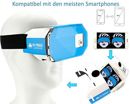 VR-PRIMUS® Google Cardboard VR Brille | Virtual Reality | Leicht, Nasenpolster, Kopfband | Für Smartphones wie iPhone, Samsung, HTC, Sony, LG, Nexus, Huawei, OnePlus, ZTE, Google Pixel usw. | (blau) - 4
