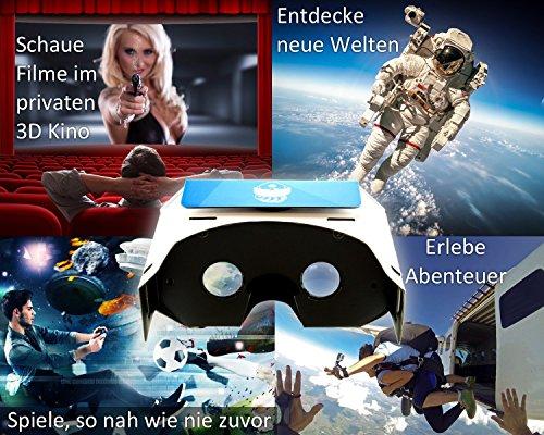 VR-PRIMUS® Google Cardboard VR Brille | Virtual Reality | Leicht, Nasenpolster, Kopfband | Für Smartphones wie iPhone, Samsung, HTC, Sony, LG, Nexus, Huawei, OnePlus, ZTE, Google Pixel usw. | (blau) - 5
