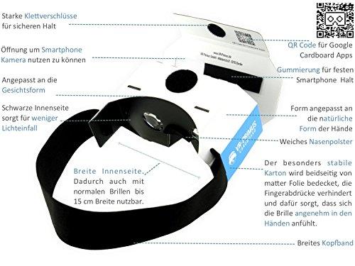 VR-PRIMUS® Google Cardboard VR Brille | Virtual Reality | Leicht, Nasenpolster, Kopfband | Für Smartphones wie iPhone, Samsung, HTC, Sony, LG, Nexus, Huawei, OnePlus, ZTE, Google Pixel usw. | (blau) - 6