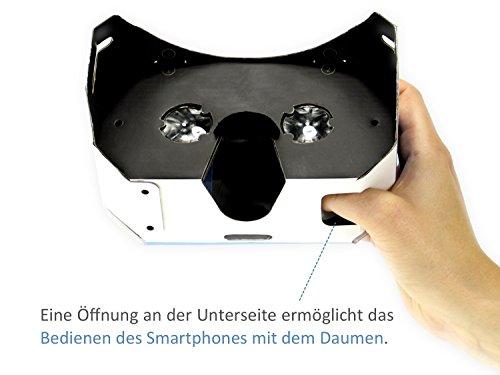 VR-PRIMUS® Google Cardboard VR Brille | Virtual Reality | Leicht, Nasenpolster, Kopfband | Für Smartphones wie iPhone, Samsung, HTC, Sony, LG, Nexus, Huawei, OnePlus, ZTE, Google Pixel usw. | (blau) - 7