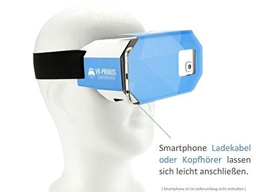 VR-PRIMUS® Google Cardboard VR Brille | Virtual Reality | Leicht, Nasenpolster, Kopfband | Für Smartphones wie iPhone, Samsung, HTC, Sony, LG, Nexus, Huawei, OnePlus, ZTE, Google Pixel usw. | (blau) - 9
