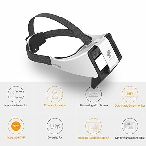 V2.0 FXT Viper FPV Brille 5,8 GHz 40CH Video Headset Unterstützung Tragen Brille, Abnehmbare 5 Zoll HDMI im Monitor, Vielfalt RX, DVR für RC Drohne - 4