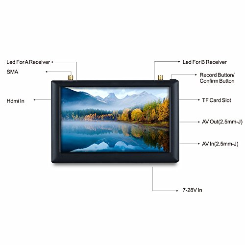 V2.0 FXT Viper FPV Brille 5,8 GHz 40CH Video Headset Unterstützung Tragen Brille, Abnehmbare 5 Zoll HDMI im Monitor, Vielfalt RX, DVR für RC Drohne - 6